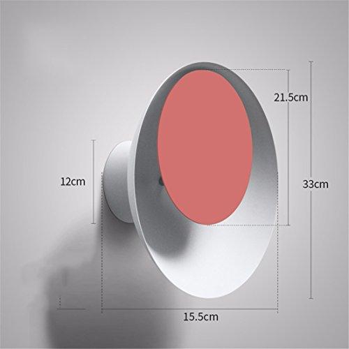SiwuxieLamp applique murale LED 7W moderne rond salon créatif fond mur escaliers couloir allée chambre lit éclipse, blanc + rouge 16.5CM lumière support