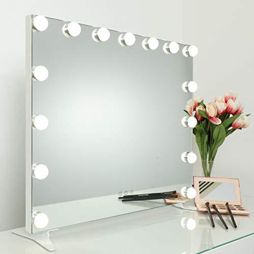 iCREAT Hollywood beleuchtet Schminkspiegel 60X50 cm 15 Glühbirnen kantlos größer Horizon Kosmetikspiegel Tischspiegel Lichtfarbe-Helligkeit verstellbar Beleuchtung im Salon, Makeup Studio geeignet