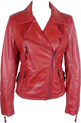 UNICORN Mujeres Corto Motorista Estilo Auténtico Cuero Chaqueta - Encerar Rojo #GB