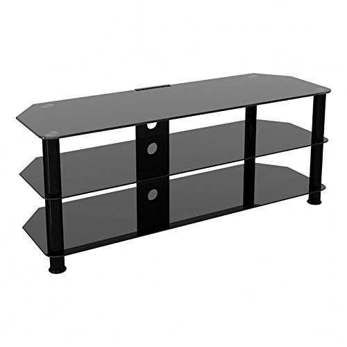 """King Glass TV Stand for HD LED LCD 4K 8K QLED TVs up to 60"""" inch by TV Furniture Direct (125cm, Black Glass, Black Leg)"""
