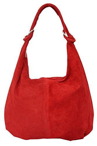 AMBRA Moda Damen Wildleder Schultertasche,Damen Handtasche, Beutel, Hobo-Bags, Shopper, Beuteltaschen, Trend-Bags,Veloursleder, Suede, Ledertasche,DIN-A4, 42cm x 35cmx 3cm WL803 (Rot)