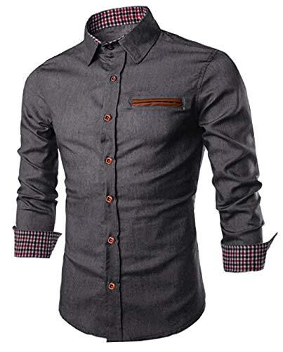 JINIDU Camisa vaquera de manga larga para hombre, corte regular, vaquero, gris, XL
