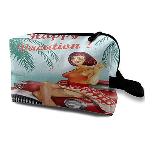 Hdadwy Organizador de viaje multiusos bolsa de maquillaje impermeable Fondo de vacaciones vintage con pin Up Girl y artículos de tocador de coche retro Bolsa de almacenamiento de cosméticos para mujer