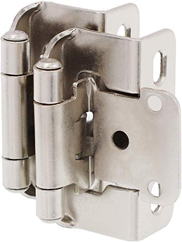 """DecoBasics Partial Overlay Cabinet Hinges 1/2"""" (25 Pair - 50 Pack) (Brushed Nickel), Semi Wrap Overlay Cabinet Hinge, Partial Wrap Cabinet Hinges - Quick & Easy Installation"""