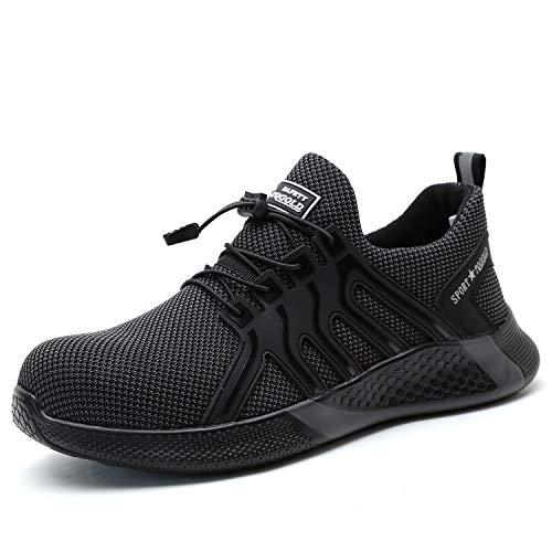AONEGOLD Sicherheitsschuhe Herren Damen S3 Arbeitsschuhe Leicht Atmungsaktiv Sportlich Schutzschuhe rutschfeste Stahlkappe Schuhe(Grau,41 EU)