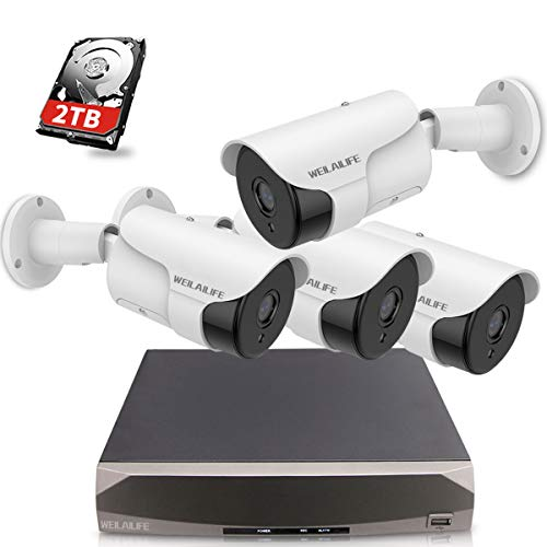 【5.0MP Two Way Audio】 PoE Security Camera System, 4pcs 5MP Wired Backstreet PoE IP Cameras, 8 Channel NVR Recorder with 2TB HDD, 24/7 Video Complete Surveillance Systems for Outdoor/Indoor Use