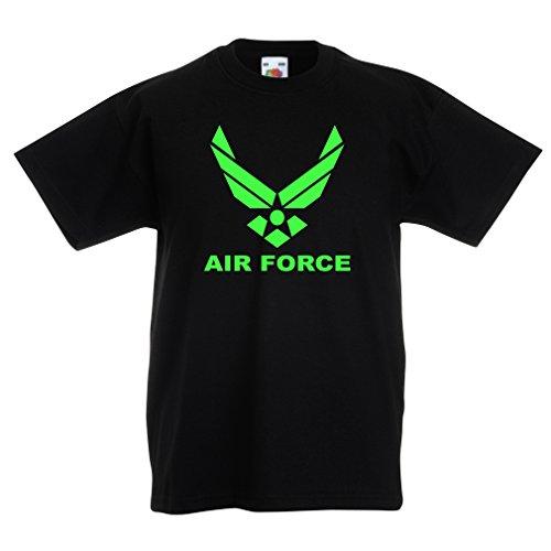 lepni.me Kinder Jungen/Mädchen T-Shirt United States Air Force (USAF) - U. S. Army, USA Armed Forces (14-15 Years Schwarz Grün)