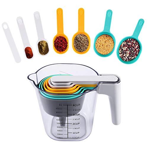 Uarter Messbecher und Löffel Set 9 Stück mit Schaber Trichter ABS Backzubehör Küchenutensilien Set für trockene und flüssige Zutaten