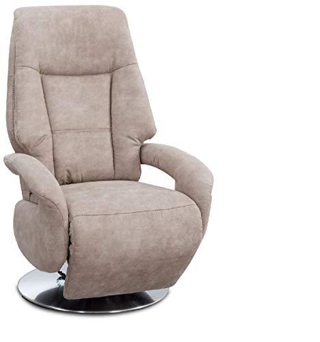Cavadore TV-Sessel Edinburgh / Fernsehsessel mit elektrisch verstellbarer Relaxfunktion / 2 E-Motoren / 74 x 114 x 77 / Lederoptik: beige