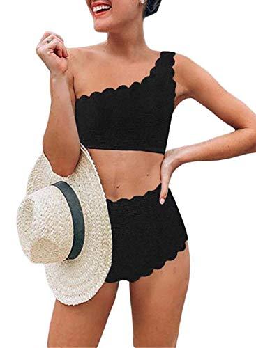 Aleumdr Vintage High Waisted Swimsuit Two Pieces Scalloped Trim One Shoulder Bikini Bathing Suit Black Medium 8 10