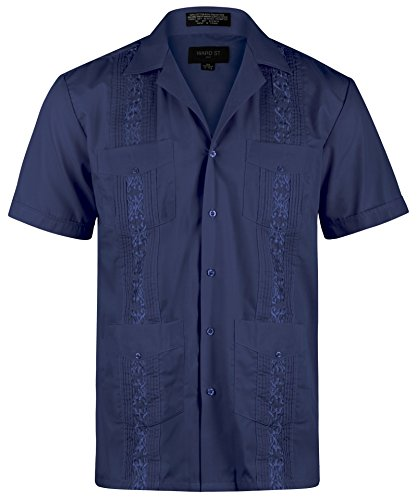 Ward St Men's Short Sleeve Cuban Guayabera, XL, 17-17.5N, Navy, Navy, Size 17.0