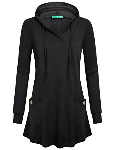 Kimmery Black Hoodie Pullover Women, Girls Fall Casual Work Sweatshirt Cool Loose Flare Hem Shawl V Neck Petite Tops Extra Long Sleeve Street Wear House Long Tunic Shirt with Pouch Pockect M