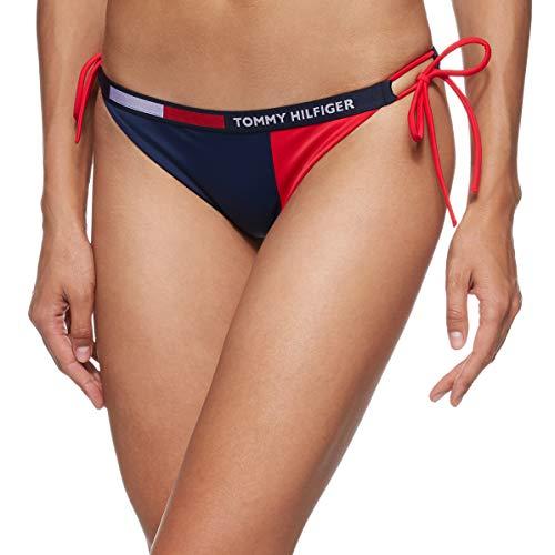 Tommy Hilfiger Women Descarado Lado Cuerda Corbata Bikini Pantalones Inferiores, Tono Azul XL Tono Azul