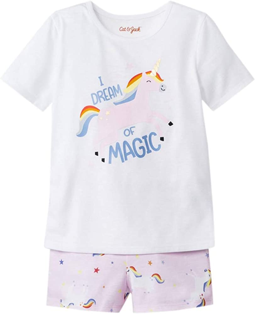 Toddler Girls' I Dream of Magic Jersey with Unicorn Stars Printed Top & Bottom Pajama Set - Cat & Jack Fresh White