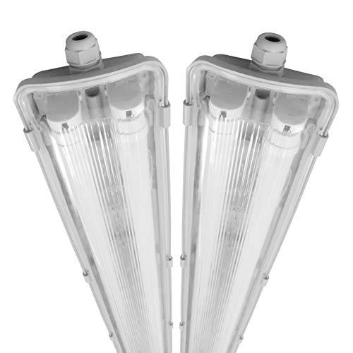 proventa® LED-Feuchtraumleuchte 120 cm, Sparset mit 2 Stück, mit je 2 LED-Röhren, IP65, 4.000 K, 36 W, 3.600 Lumen, Kunststoff grau, Energieklasse A+