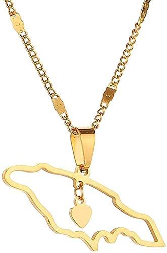 WYDSFWL Collares Collar de Moda de Acero Inoxidable con Mapa Collares de Jamaica Pendientes Joyería de Mapa de corazón de Moda
