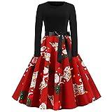 FOTBIMK Robe De Noël Manches Longues,Vêtements Womens Christmas Party Dress Ladies Vintage Xmas Swing Lace Dress Imprimé Bonhomme De Neige Père Noël Tunique Mini Robe Rouge S