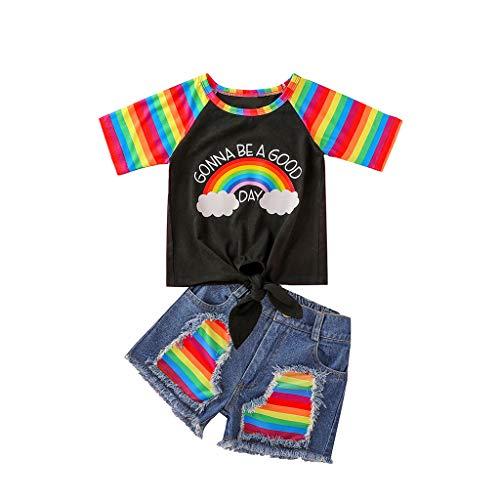Hffan Kleinkind Kinder Baby Mädchen Streifen Regenbogen Krawatte Tops + Denim Shorts Outfits Set