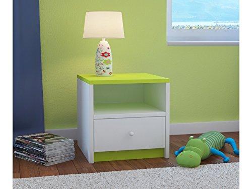 Children's Beds Home Mesita de Noche para niños Babydreams para niños, niños, Junior (Verde, 40x40x30)