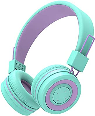 Kids Bluetooth Headphones, iClever Wireless Headphones with MIC, 85dB Volume Limited, Adjustable Headband, Foldable, Childrens Headphones for School/Travel by Iclever