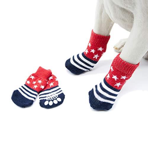 POPETPOP 4 Piezas Botines Antideslizantes para Perros Calcetines para Perros Adorables Medias de Estrellas Rojas Calcetines de Algodón para Mascotas para Caniche de Peluche