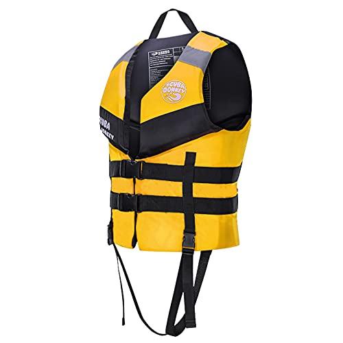 MYAOU Chalecos Salvavidas para Adultos Ayuda a la flotabilidad, Chaleco Salvavidas de Seguridad Flotante Dispositivo de flotación Personal Unisex para Pesca, Surf, Buceo, Rafting, Kayak,Amarillo,L