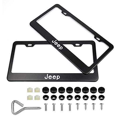 2Pcs Newest Matte Aluminum Alloy Logo License Plate Frame for Jeep, with Screw Caps Cover Set, Applicable to US Standard car License Frame