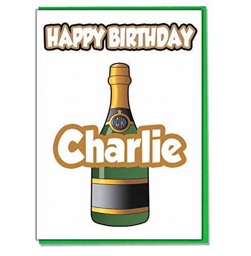 AK Giftshop Gepersonaliseerde Champagne Fles Verjaardagskaart - Elke Naam Leeftijd Relatief