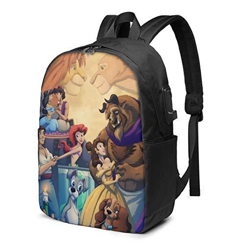 Mickey Mouse Aladdin Little Mermaid Beauty Beast Lion King Mochila de viaje de negocios con cable de carga USB, interfaz de auriculares de gran capacidad para portátiles de 13 a 17 pulgadas