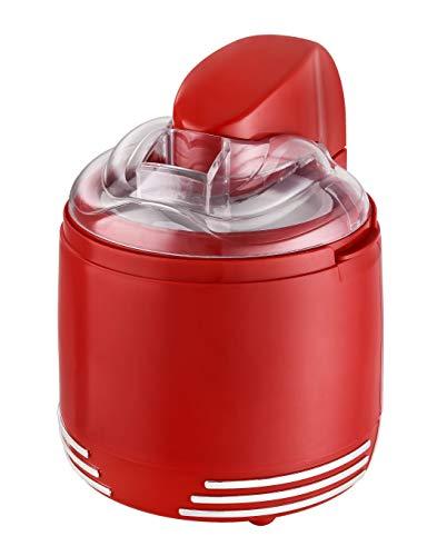 Team Kalorik 2-in-1 Retro-Speiseeismaschine und Joghurtmaker, Für 0,6 l Eis oder 1 l Joghurt, 15 W, Rot, TKG ICE 2500 Red