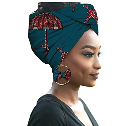 Yijinstyle Damen Afrikanischen Turban Kopf mit Ohrring Elastische Stirnband Hut Elegante Kappen Gedruckt Hijab Headwrap (Style#23, 55 * 180cm)