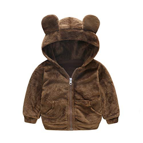 Haokaini Baby Mäntel Kleinkind Kinder Junge Mädchen Kunstfell Teddybär Warm Kapuzenmantel Jacke Outwear Outfits Parka Schneeanzug Reißverschluss Umhang Gr. 3-4 Jahre, braun