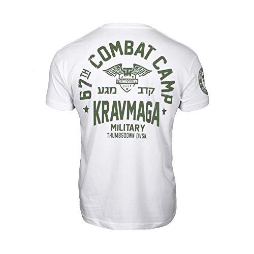 Pulgares Down Krav Maga Camiseta 67th Combat Campamento. MMA. Gimnasio Entrenamiento. Marcial Artes Informal - Blanco, X-Large