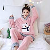 JFCDB Albornoz, Christmas Pajamas Women Winter Warm Velvet Thickening Flannel Sleepwear Set Cute Hooded Pajamas Loungewear Women,RHS A22 Fen Xiong,XXL