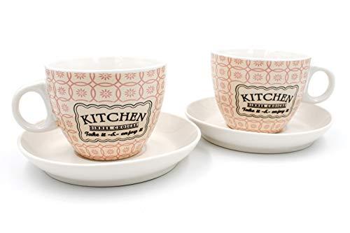 2er Set Cappuccino-Tasse mit Unterteller, Porzellan, Retro Kitchen, weiß Creme rosa, Tassen von Ritzenhoff & Breker