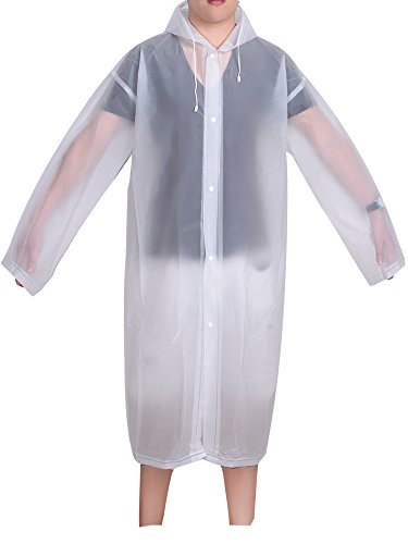 Mudder Adult Portable Raincoat Rain Poncho with Hoods and Sleeves (White)