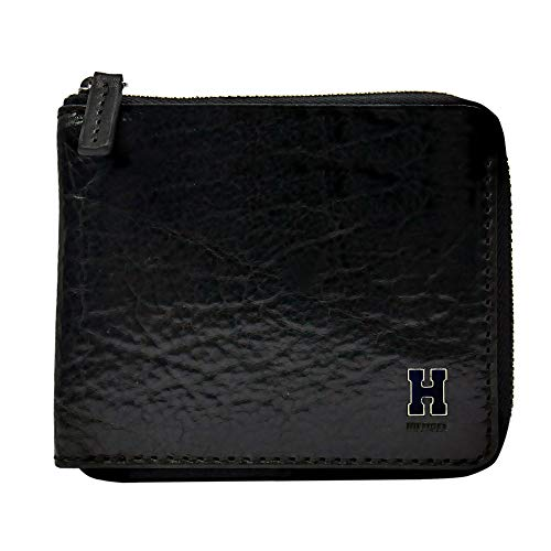 Tommy Hilfiger Men's RFID Blocking Leather Zip Around Bifold Wallet, black, One Size