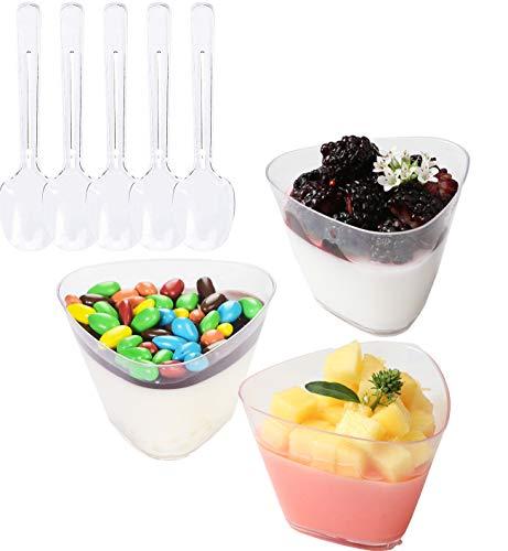 Lawei 100 x mini coppette da dessert con cucchiaini – triangolo Coppette usa e getta trasparenti – Bicchieri usa e getta in plastica trasparente per antipasti degustazione feste dessert antipasti