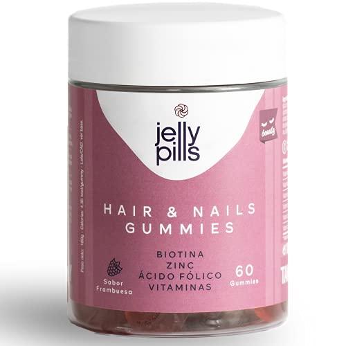 Biotina 5.000 mg + Ácido fólico + Zinc + 7 vitaminas + Yodo   60 gominolas   Multivitaminas y Minerales Naturales que disminuyen la caída del cabello y refuerzan su crecimiento