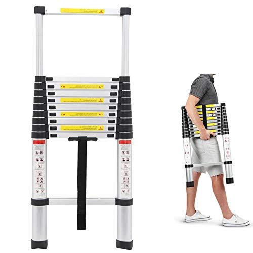 Bowoshen 10.5Ft Telescoping Ladder Aluminium Light Weight 330lb Load Capacity Extension Attic Ladder for Outdoor Indoor Home Loft Office
