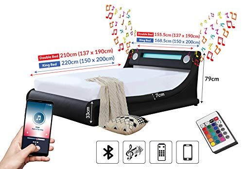 Black Bluetooth Speaker Bed with USB charger, AUX input & LED Light + Remote (King Size 5FT)