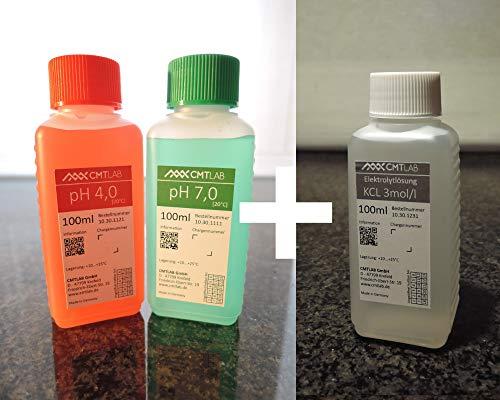 pH + KCl Pufferlösung, Set 100ml, pH4 + pH7 + KCl 3mol, Industriequalität, Made in Germany