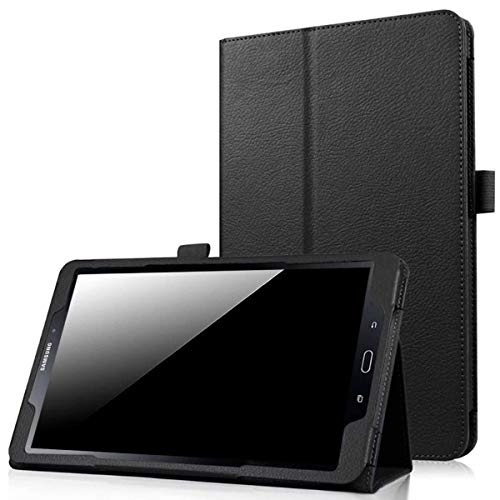 EKVINOR Case for Galaxy Tab A 10.1 (2016 NO S Pen Version), PU Leather Folio Stand Case Cover for Samsung Galaxy Tab A 10.1 Inch 2016 Tablet (Model: SM-T580/SM-T585) - Black