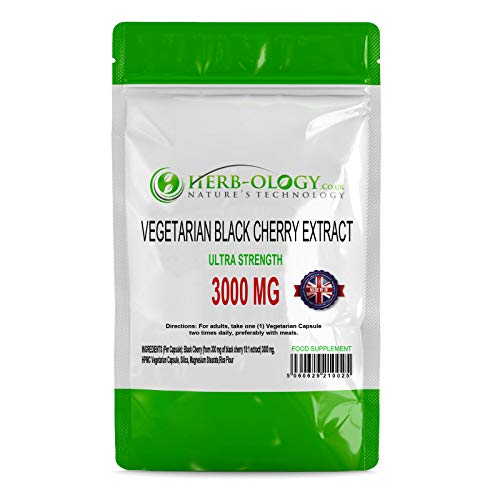 Black Cherry Tablets — 3000mg Equivalent — Super Strength 10:1 Extract | 120Ct, Vegan, Easy-Swallow Capsules | Supplement