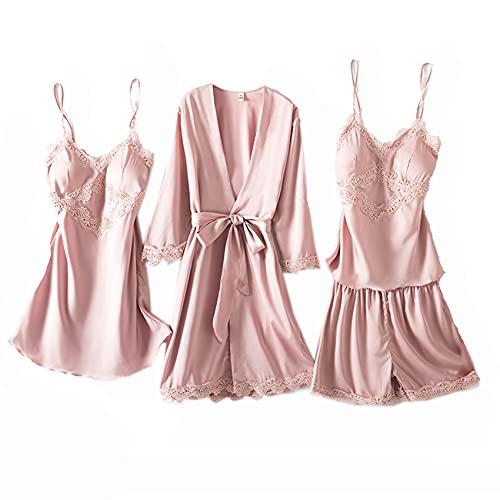 Pijamas Mujer Primavera Nuevo camisón de Seda de Hielo de Cuatro Piezas de Longitud Media Sling Casual Home Wear