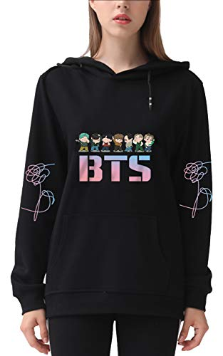DealRight Love Yourself Hoodie Pullover Kpop Suga V Jimin Jungkook Hooded Sports Sweatshirt (XX-Large,Black)