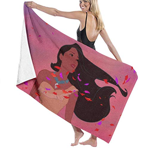 Emily-Shop Toalla de baño Pocahontas Toalla de Playa de Gran tamaño de 55 x 32 pulgadasUsar como Yoga Viaje Camping Gimnasio Toallas de Piscina en Carro de Playa Sillas de Playa