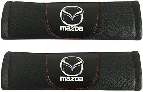 JABAVE 2pcs Almohadillas Cinturón de Seguridad De Coche, Hombreras Bordado Correa Protector Accesorios de Estilo Interio para Mazda 3 Mazda CX-3 Mazda 6 Mazda CX-5 Mazda MX-5 Miata Mazda CX-9
