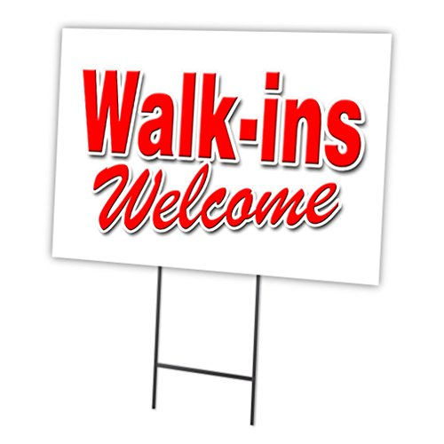 Walk-INS Welcome 18'x24' Yard Sign & Stake Outdoor Plastic Window