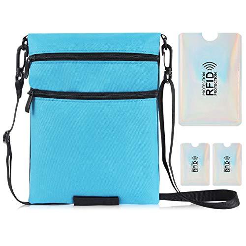 パスポートケース スキミング防止 首下げ 軽量 防水 RFIDスキミング防止 (賜物: 3つのRFIDスキミング防止カード) 首ひも調節可能 パスポート セキュリティ ポーチ ホルダー バッグ 入れ 4ポケット 両面使用のデュアルカラー設計 ブルー/ブラッ